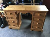 Double Pedestal Waxed Pine Dressing Table/Desk