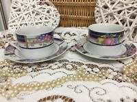REDUCED Beautiful Collectable TRISA Porcelain Tea cups/saucers 2 sets Left
