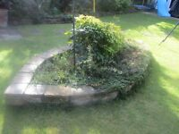 stones to create flower bed or garden wall