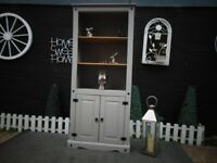 SOLID PINE FARMHOUSE BOOKSHELF WITH 3 SHELVES AND CUPBOARD PAINTED WITH LAURA ASHLEY GREY COLOUR