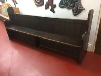"Antique Church Pew / Settle - 8ft 2"" long / stained Pine"