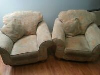 Pair of large comfortable armchairs ex Gillies