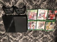 Xbox One with 2 pads and 6 games