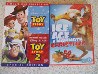 Toy Story 1 & 2 and Ice Age a Mammoth Christmas