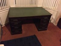 Vintage Retro Office desk with six drawers