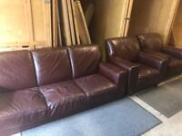 RELISTED Leather Burgundy 3 Seater and chairs