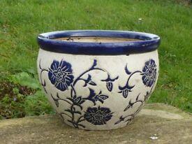 Stylish Large Ceramic Garden Planter Cream with Blue Flower Decoration Pot
