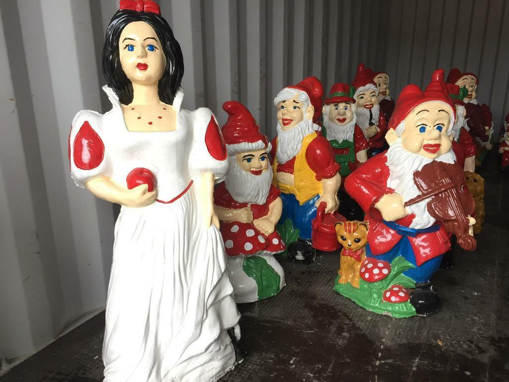 snow white with seven dwarfs gnomes handmade garden ornaments in