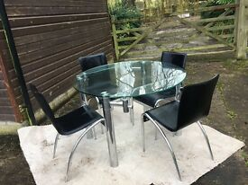 Glass Extendable Dining Table & Chairs