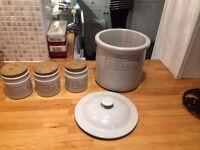 Bread Bin and Matching Tea ,Coffee,Sugar storage Jars