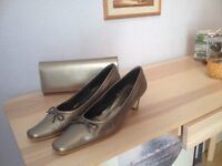 Designer bronze shoes and clutch bag