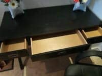 Desk and Chair combo. Black Wooden
