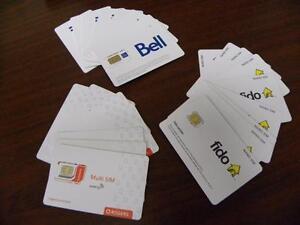 NEW Assorted SIM Cards - Rogers Multi SIM, Fido NANO SIM, Bell 4G LTE