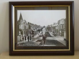 Black and white photo of Sandy park road.