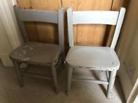 Antique wooden painted chairs, pair for children