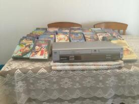 VHS video and DVD player/recorder + kids vhs tapes