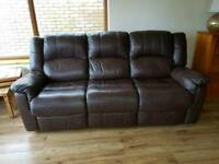 Leather 3 seater recliner