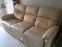 DFS cream leather 3-seater sofa with powered recliners and matching armchair with manual recliner