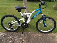 "Boys/Girls Mountain Style Bike Vertigo Etna 14"" blue & White frame; 6 speed twist-grip Shimano gears"