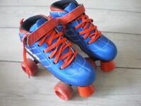 Red and blue roller boots. Hardly worn. Size 3/4