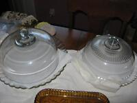 """Estate Sale! Two """" Depression Era Glass"""" Cake Plates with Covers"""
