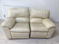 Cream leather sofa Recliner