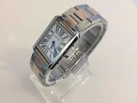 new men's CARTIER TANK TWO TONE Watch with Deployment clasp