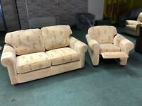 Two Sofa Set With Fully Reclining Arm chair Flower Design