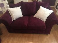 2 x 2 seater sofas plum, excellent condition