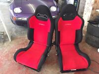 Cobra Racing Bucket Car Seats - pair. Red with black Cloth