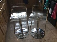 2 clear Perspex bar kitchen stools