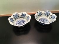 2 Blue and White Bowls