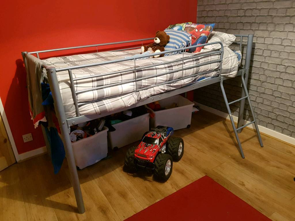 Kids single midsleeper bed with mattress