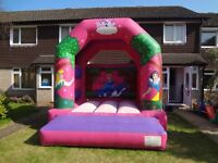 KLC PRINCESS BOUNCY CASTLE with sunroof 11ftx13x11.6ft - gc incs Cert/fan/pegs - home or hire use