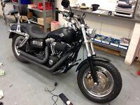 £8350 ono bargain Harley Davidson denim black FAT Bob full Vance n hinse stage 1 full service 12 mot
