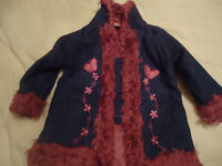 Girls denim coat edged with fur age 9-12 monthes