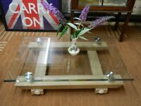 Rectangular Glass Light Wood Coffee Table