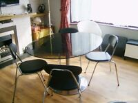 vintage 60s smoked glass oval dining table with 4 leather chrome dining chairs