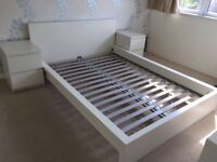 **CURRENTLY RESERVED**... White Ikea double bed frame and bedside tables