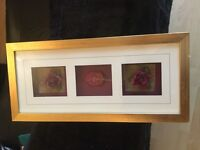 2 flower gold coloured framed next pictures
