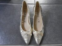 New Pale Gold Leather Shoes Size 3.