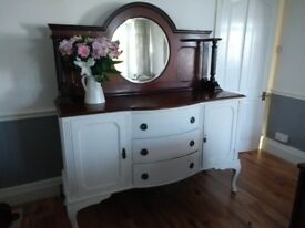 Antique large solid wood dresser/sideboard with removable mirror section
