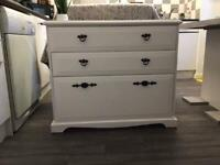 Beautiful Hand Painted Upcycled Frenchic white chest of drawers