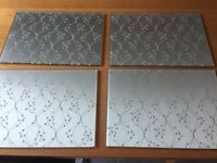 Silver Glass Place Mats x 4 - Excellent Condition
