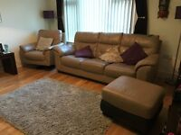 Dfs 3 piece from a smoke free pet free home, 3 seater sofa swivel chair and footstool with storage