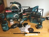new makita 18v LXT 7pcs set: skill saw+grinder+sander+recip saw+impact+combidrill+lamp+2x4ah+charger