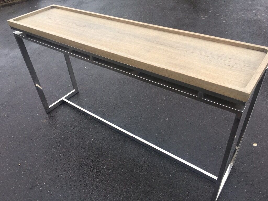 oak and chrome console table  in banstead surrey  gumtree - oak and chrome console table