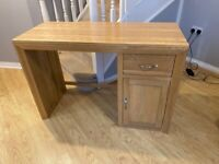 Solid oak computer desk and chair