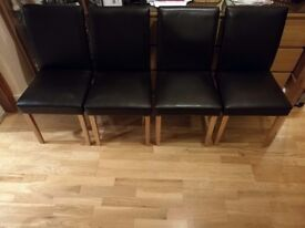 Brown PU Leather Dining Chairs with Oak Feet (set of 4)