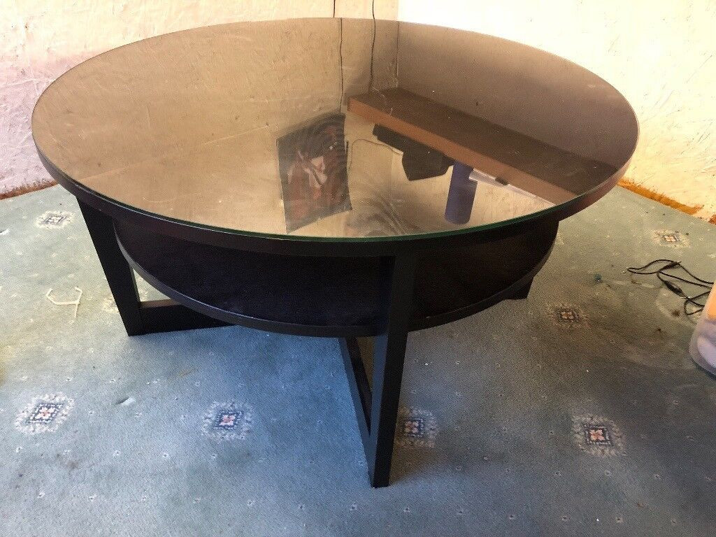Round Double Layer Coffee Table With Custom Built Glass Top Glass